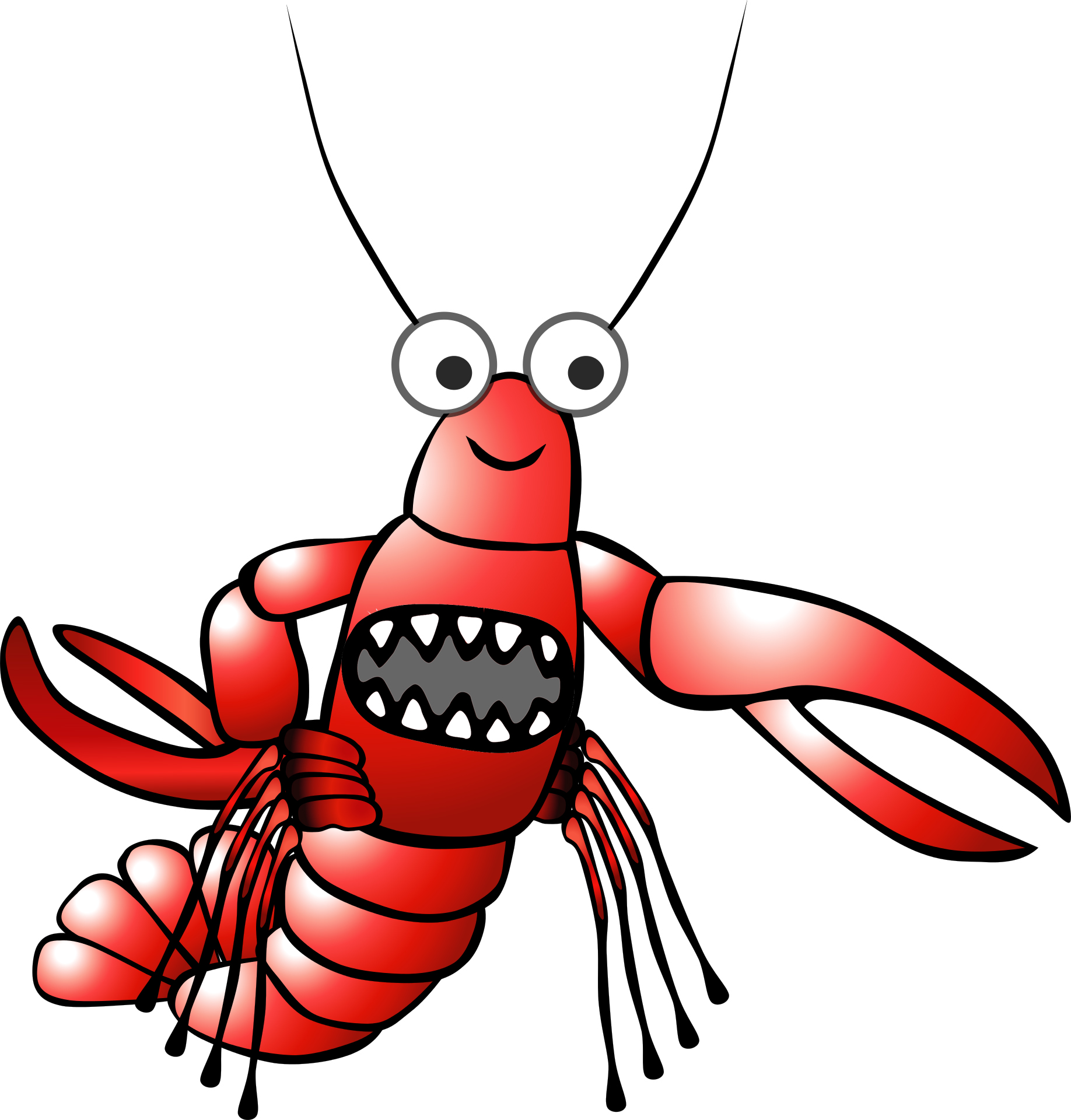 A lobster's teeth are in its stomach.